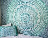 טורקיז מנטה קיר היפי המנדלה שטיח בוהמי כיסוי המיטה אתני במעונות תפאורה המנדלה היפי שטיחי-בשטיחי קיר דקורטיביים מתוך בית וגן באתר
