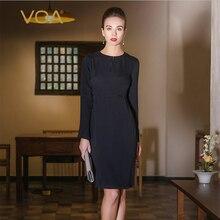 VOA navy blue pencil dresses ladies long Sleeve o neck knee length Dress high waist silm drdss plus size A5312