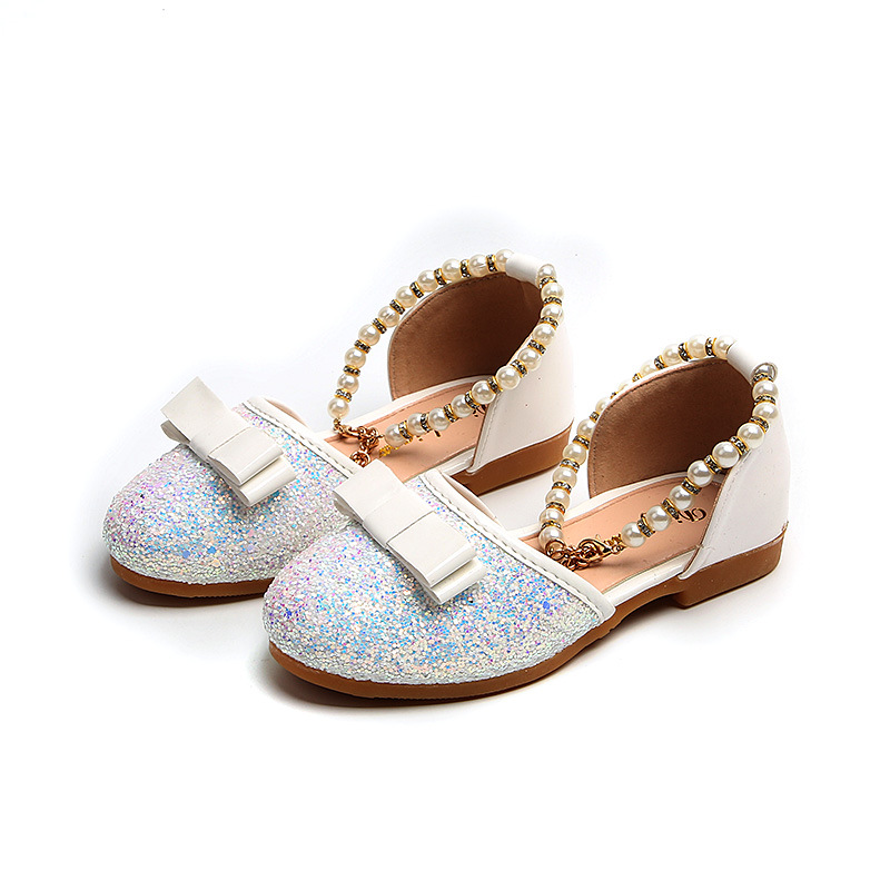 Girl Glitter Sandals Kids Shoes Summer Baby Children Flat Princess Pu  Leather Fashion Beading Toddler Girl Soft Bottom Size21 30-in Sandals from  Mother ... 55bfa8db4b99