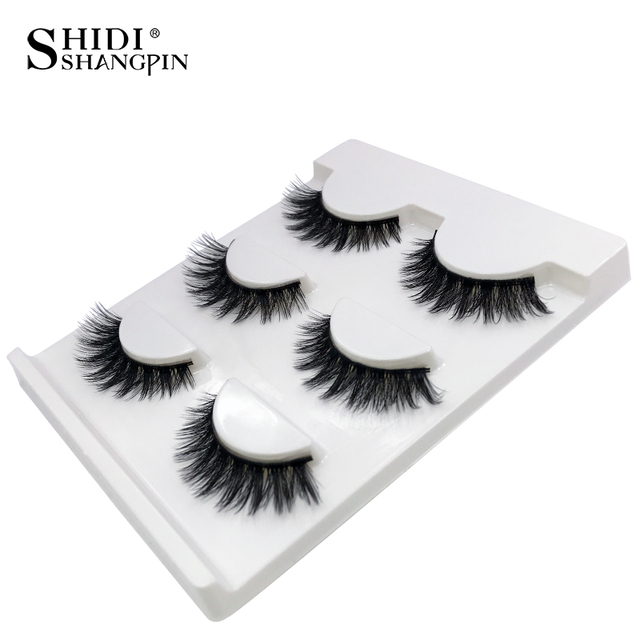 SHIDISHANGPIN 3d mink eyelashes hand made makeup false eyelashes natural long eyelash extension 1 box 3 pairs eyelash X08 1