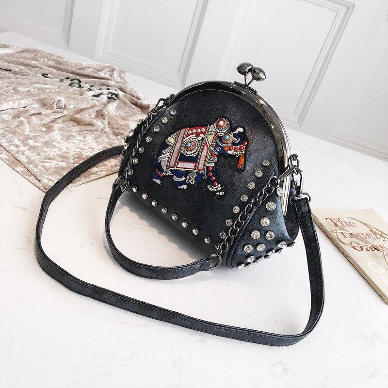 Women's Elephant Embroidery Eco Leather Messenger Bag 4