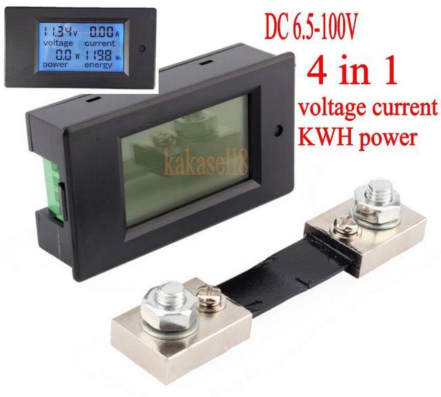 DC 6.5-100v 100A LCD Combo Meter Voltage current KWh Watt Panel Meter 12v 24v 48v Battery Power monitoring +100A Shunt