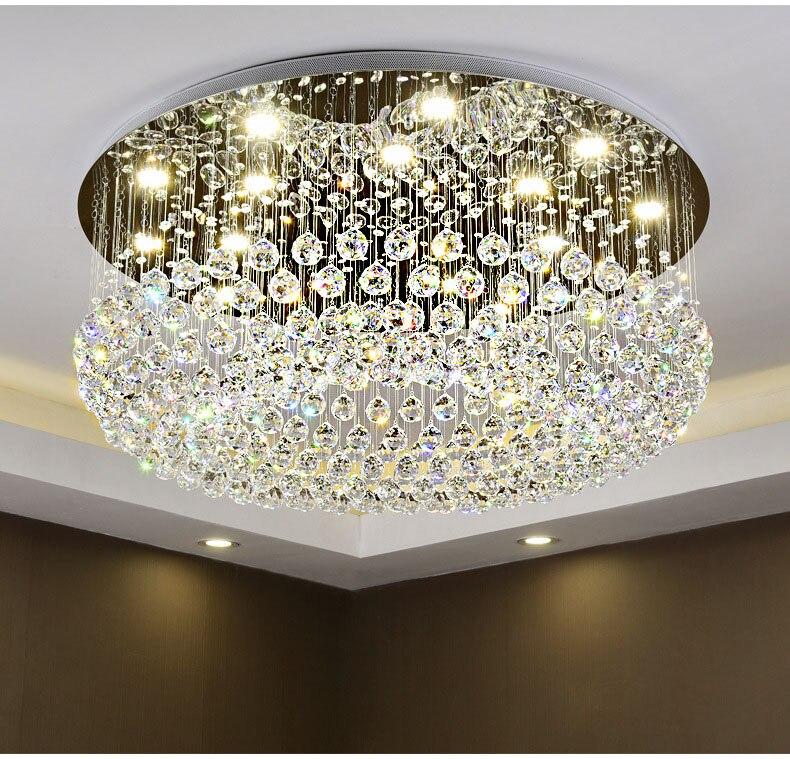 Circulaire cristal plafonnier pour salon maison salle à manger lumière lampe hôtel créatif rétro fer lampe E14 LED ampoule