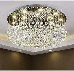 Okrągły kryształ sufitu światło dla pokoju gościnnego domu jadalnia światła lampy hotelu lampa twórcze Retro żelaza E14 żarówka LED