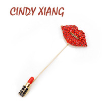 CINDY XIANG New Rhinestone Red Lips Brooches for Women Long Pin Brooch Lipstick Design Summer Dress Accessories Fashion Jewelry