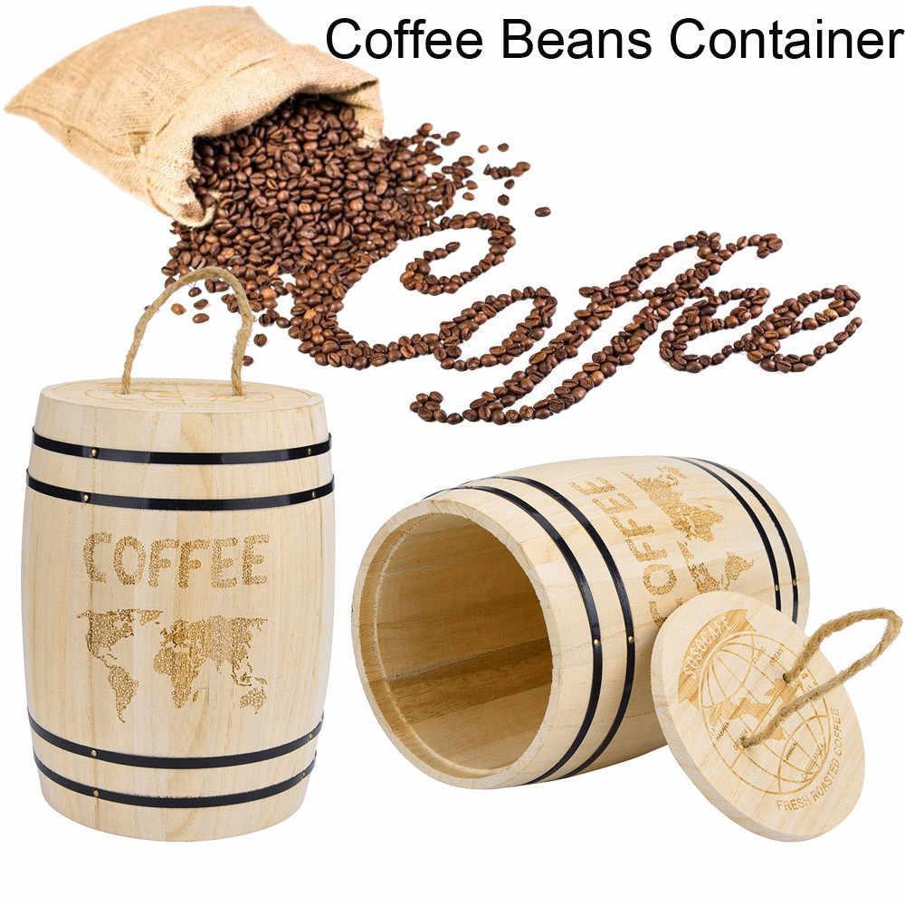 Contenedor de granos de café de madera, botellas de almacenamiento de alimentos, granos de café, barril de almacenamiento, contenedor de madera hermético, caja de cocina