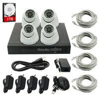 4CH NVR 1TB HDD hard disk 4PCS 1.0MP IP camera IR Weatherproof Outdoor 720P CCTV Camera Security System Surveillance Kit