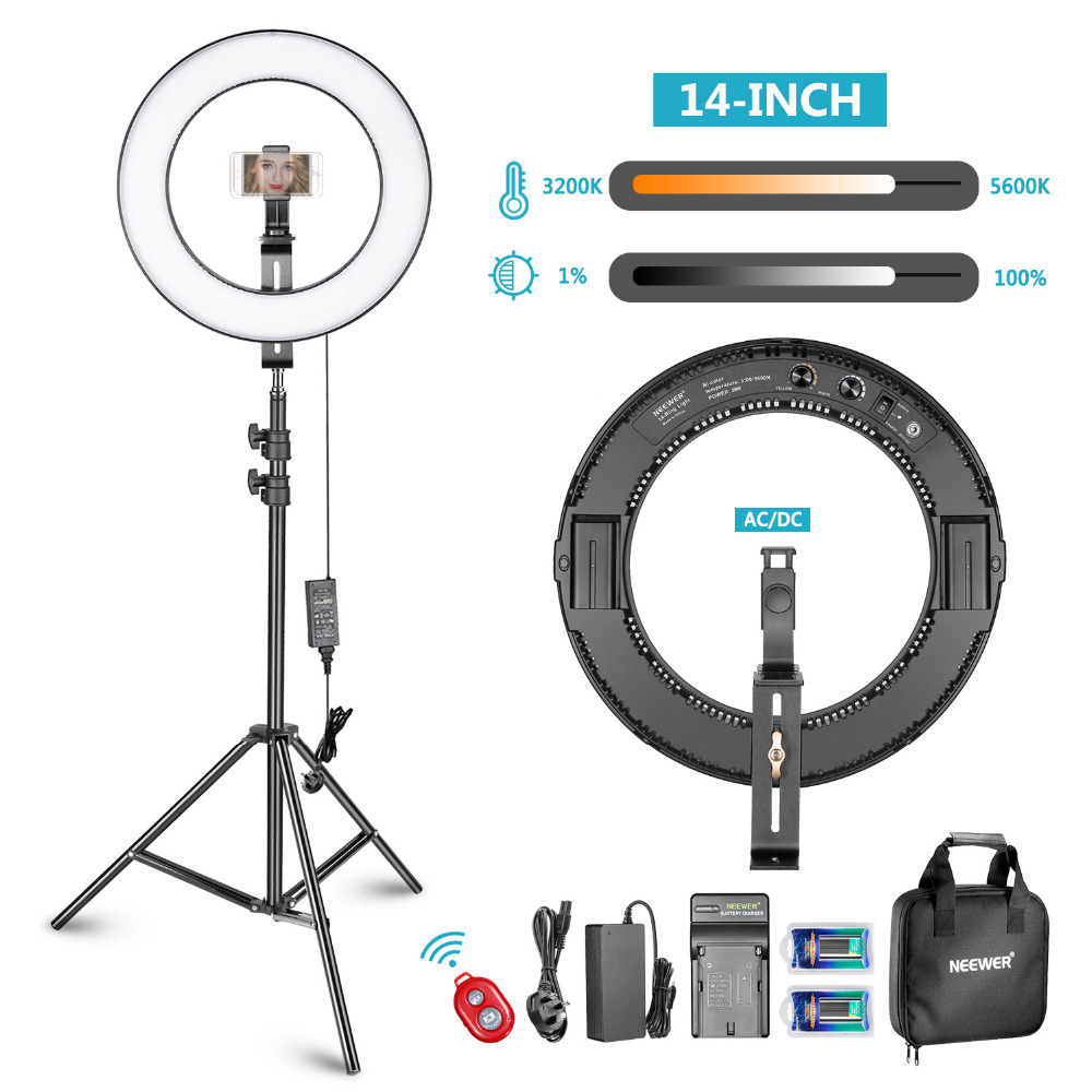 Neewer 14-inch Outer Dimmable Bi-color SMD LED Ring Light Lighting Kit for Smartphone Video Shooting with Light Stand Ball HeadNeewer 14-inch Outer Dimmable Bi-color SMD LED Ring Light Lighting Kit for Smartphone Video Shooting with Light Stand Ball Head