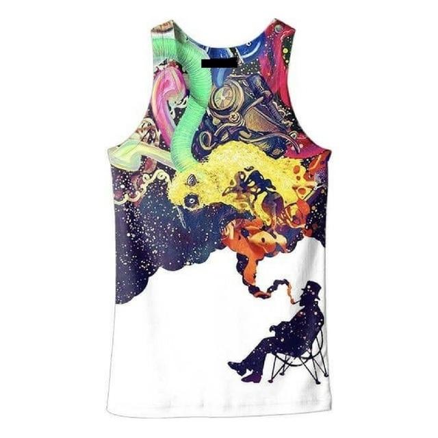 Summer T Shirt Men Women 3D Tees Sleeveless print smoking man tank boys slim fit Fashion tops tshirt Dorpship Plus S-6XL R2202