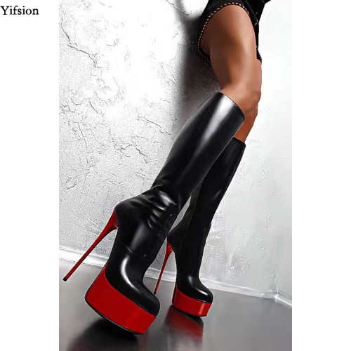 Olomm New Arrival Women Platform Mid calf Boots Thin High Heels Black Red Ladies Round Toe