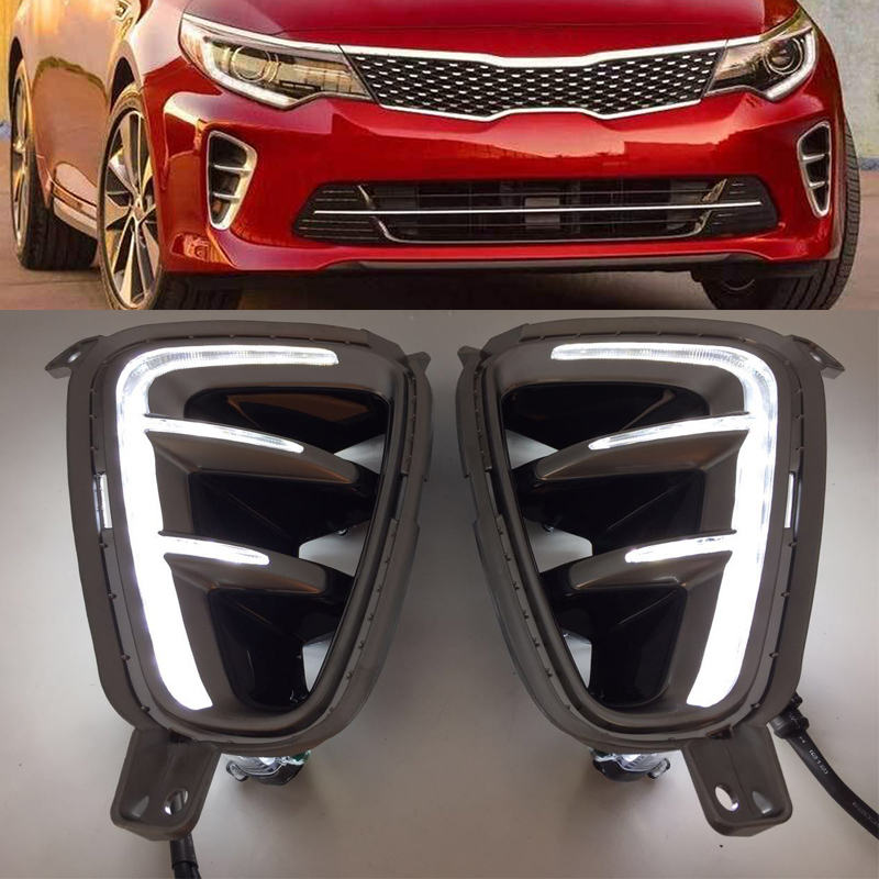 Car High quality LED Daytime Running Light For Kia Optima K5 2016 2017 Front Bumper Fog Light high quality chrome head light cover for kia optima k5 2011 free shipping
