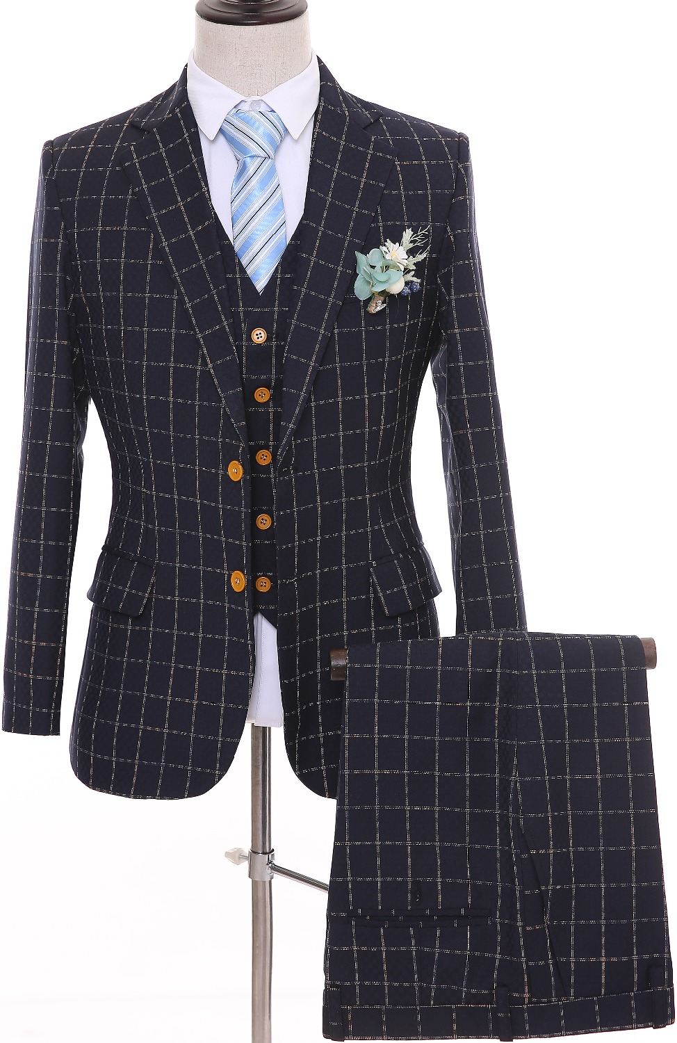 British Style Blue Plaid Men Suits Slim Fit Wedding Groom Tuxedos Notched Lapel Groomsmen Mens Wedding Suits Prom Wearing Suit