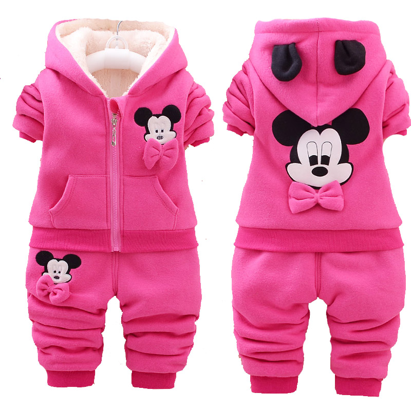 Fall and Winter Female Baby Set Thickening Velvet Infant Baby Girls Outfits 0-4 Years Old Cartoon Pink Red Long Sleeve Cute Suit
