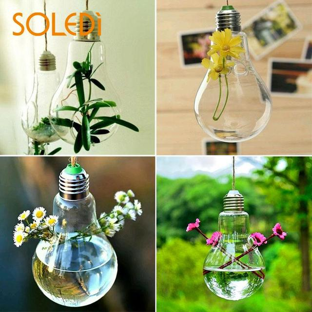 Clear Light Bulb Glass Hanging Vase Bottle Terrarium Plant Wedding