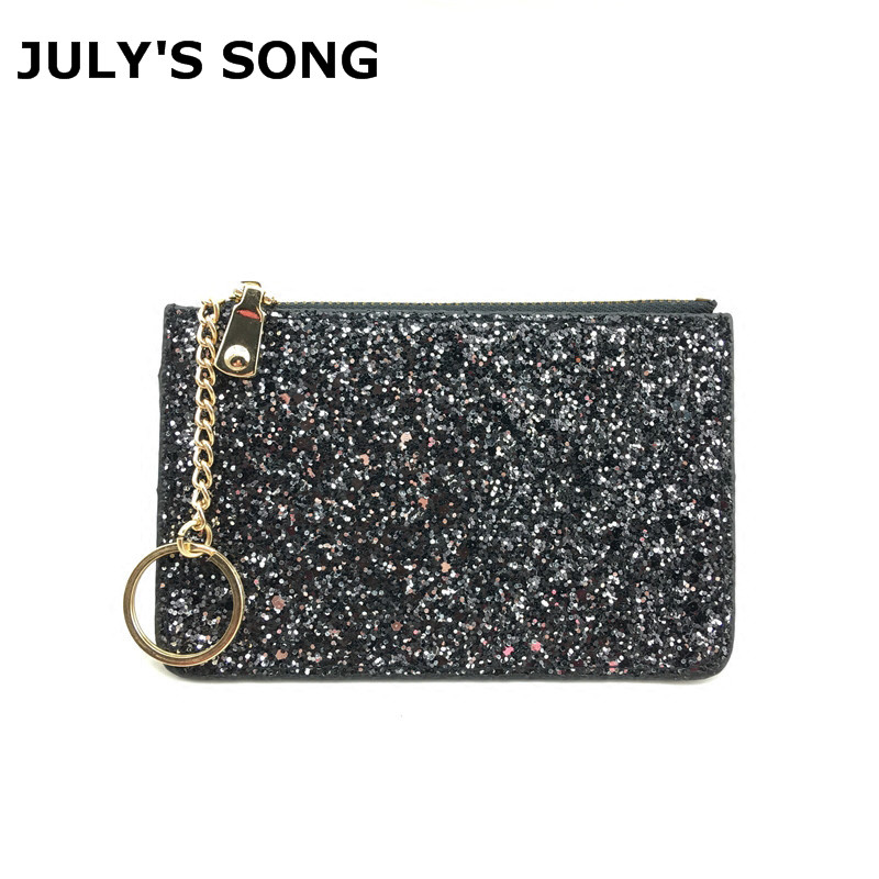BlingBling Shiny Sequins Leather Wallet Women Short Zipper Wallet Purse Fashion Wallet Key Coins Bags Female Clutch Money Bags aelicy women wallet printing coins change girls purse clutch zipper zero phone key bags dropship new 2018 hot carteira feminina