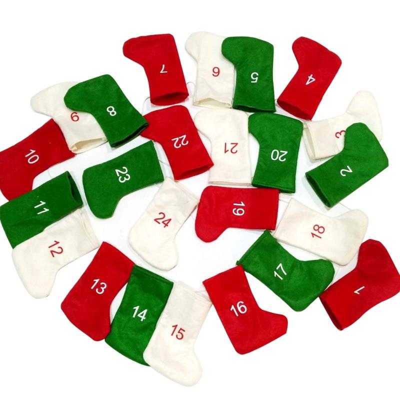 Christmas Digital Stockings Socks DIY Advent Calendar Countdown Christmas Felt Gift Calendar Garland Stockings Decoration