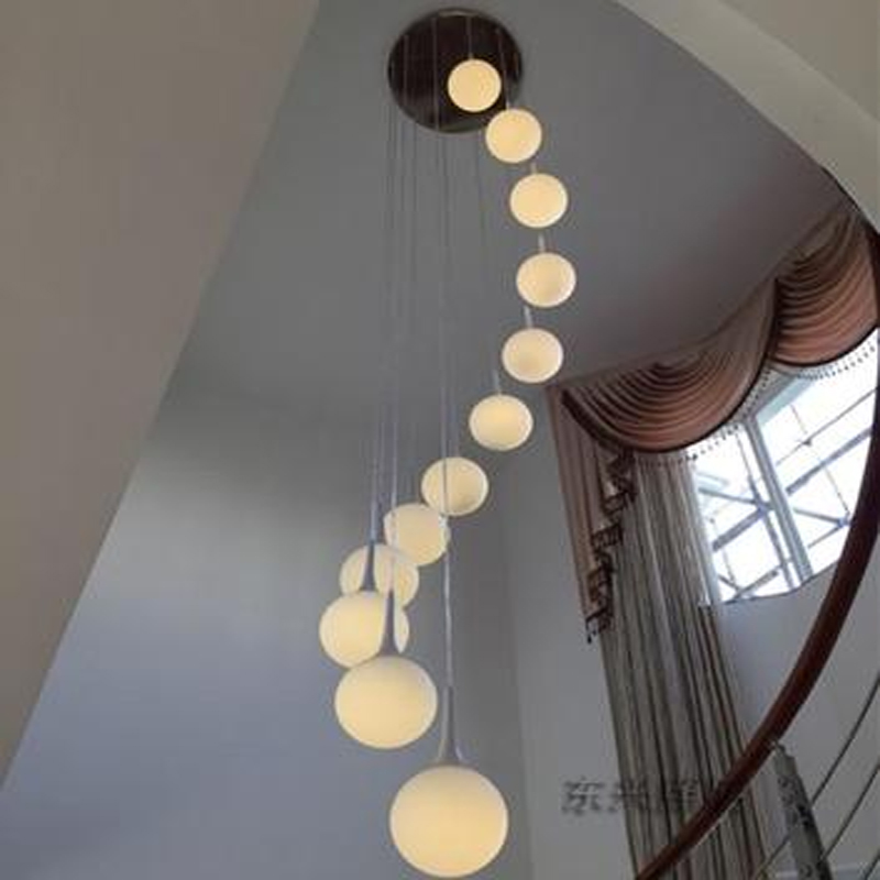 купить Stairs lights LED Light Chandelier villa creative modern minimalist living room lighting lamp ball rotating restaurant FG47 онлайн