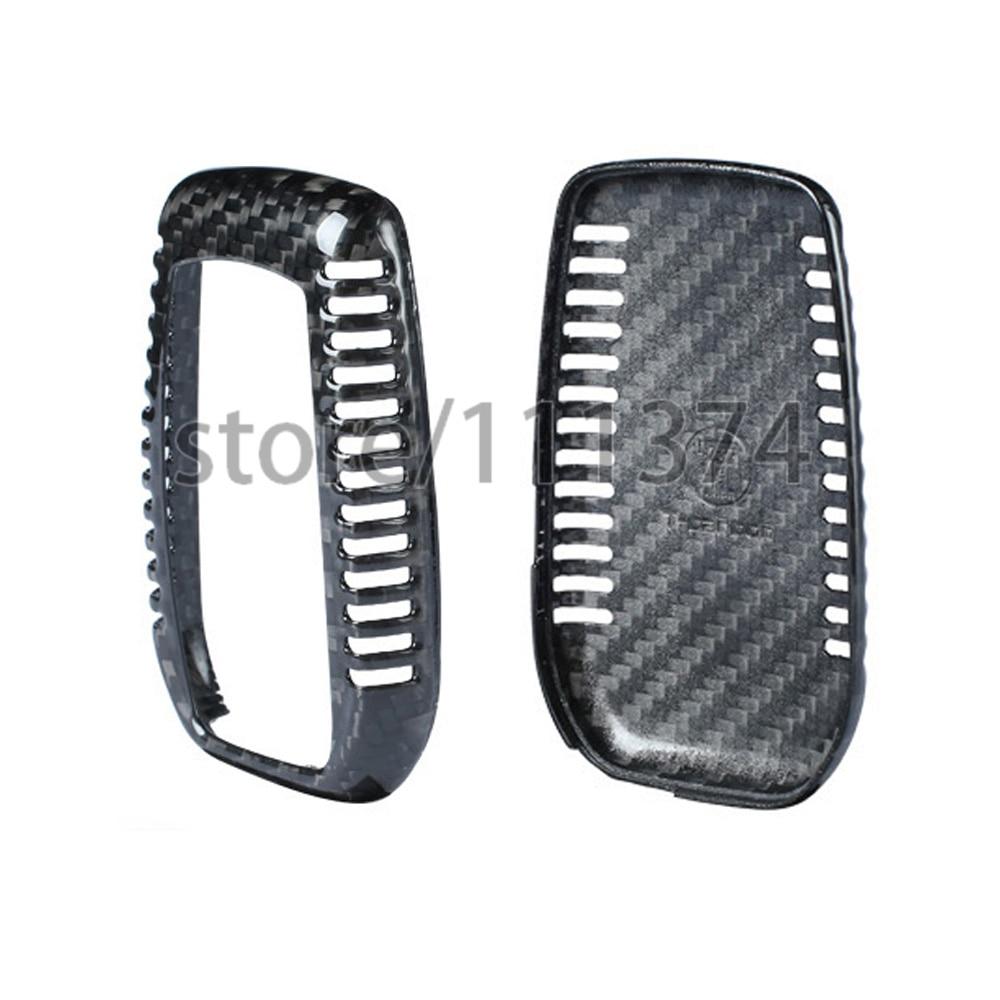Nulla Genuine Carbon Fiber Car Auto Remote Key Shell Fob Holder Case Cover For Toyota Highlander RAV4 Camry Car Styling Sticker