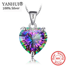 YANHUI Natural Gem Stone Rainbow Pendant Necklace Fashion Colorful Crystal Necklace 925 Silver Chain Necklaces For Women HDX0102(China)