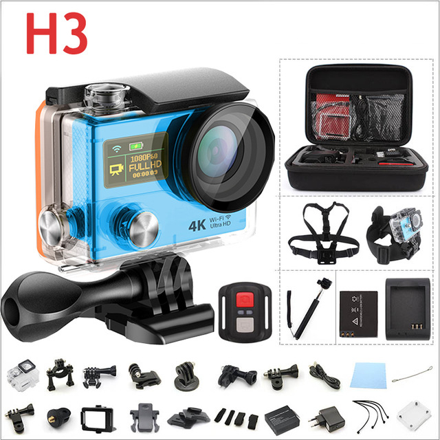 "Original H3 4K Action Camera Ultra 1080P HD WIFI Sport Video Camera 170D Wide Angle 2.0"" Dual Screen 30M Waterproof Sport Cam"