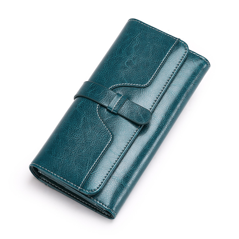 Genuine Leather Women Wallets Vintage Long Ladies Purse Tri-fold Female Wallet Solid Hasp Coin Clutch Handbags Card Holder