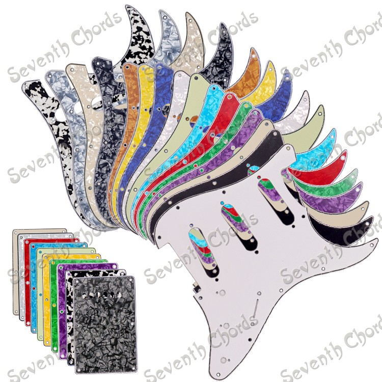 SSS 3 Ply 11 Holes Guitar Pickguard and 6 Holes Guitar Backplate  Back Plate Tremolo  Cover - Multicolor for choose