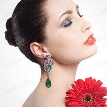 SisCathy Luxury Popular Full Mirco Paved Cubic Zirconia Crystal Earrings Fashion Jewelry Birds Waterdrop for Women