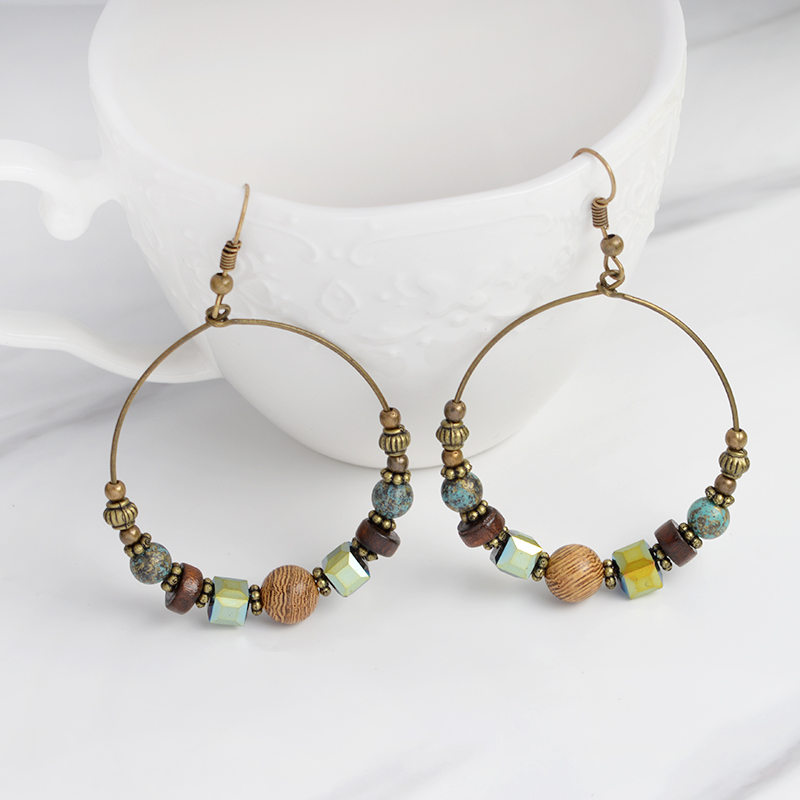 QIHE JEWELRY Rustic Colorful Rhinestone Wire Wrapped Beaded Earrings ...