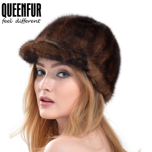 QUEENFUR Real Mink Fur Hats Women Natural Mink Fur Cap 2016 New Style Good Quality Famle Fur Caps Casquette Lady Winter Hat