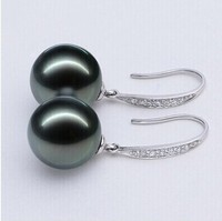 925 silver real natural big Natural light round Tahiti Pearl Earrings Ear Hook 925 Silver Earrings special offer earrings