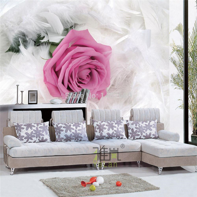Aliexpress.com : Buy beibehang Rose White Feather wallpaper European ...