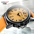 LONGBO Men Fashion Luxury Gerner Leather Watch Big Dial Waterproof Quartz Wrist Watch,Top Qualiry Men Waterproof Watches 80182