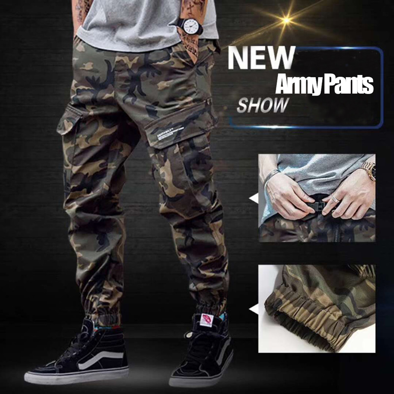 2018 Fashion High Street Men's Jeans Casual Cargo Pants Camouflage Army Pants Brand Design Hip Hop Ankle Zipper Jogger Pants Men
