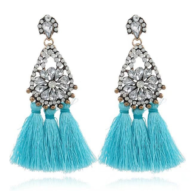 HOCOLE Handmade Ethnic Bohemian Tassel Earrings Rhinestone Dangle Earrings Red L