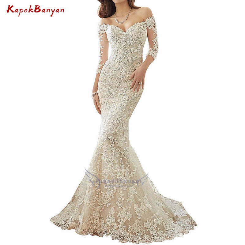 Trumpet Wedding Gowns With Sleeves: Champagne Off The Shoulder Lace Mermaid Wedding Dress Long