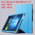 Роскошные Uultra-тонкий Складной Кожаный Чехол Стенд Shell Для Huawei MateBook 12 дюймов HZ-W09 HZ-W19 Tablet Защитный Чехол Стилус