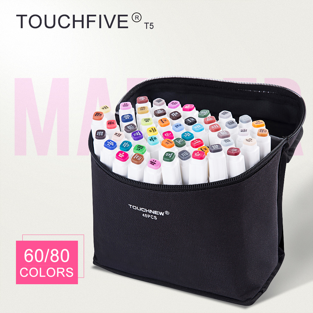 TOUCHFIVE T5S 60/80 colors dual-tip white barrel sketch markers black bag for drawing painting design manga art supplies touchnew t6 60 80 colors dual tip black barrel sketch markers camouflage bag for drawing painting design manga copic