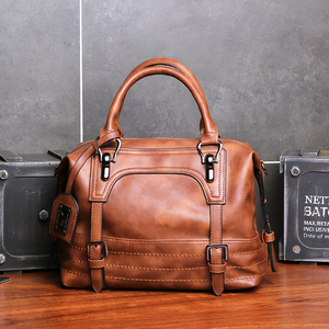Image 2 - KMFFLY Luxury Vintage Handbags for Women Leather Shoulder Bag Female Famous Brand Simple Casual Tote Bag Sac Femme Handbag 2019