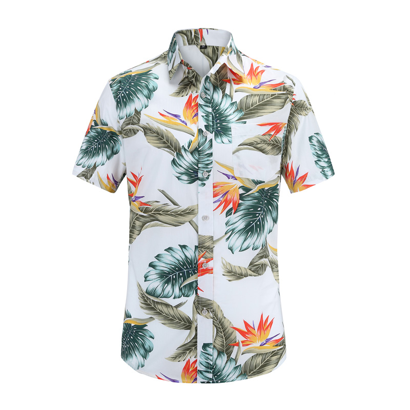 2019 New Arrival Men Fashion Brand Summer Leaves Flower Print Loose Short Sleeve Casual Shirt Male Hawaiian Style Beach Shirt