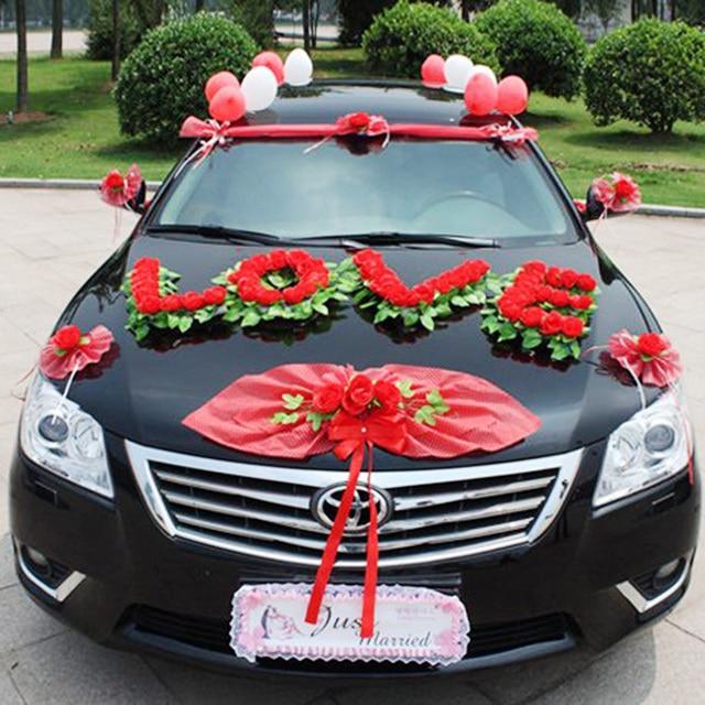 Artificial Flowers,1 Set/lot,wedding Car Decoration, Red
