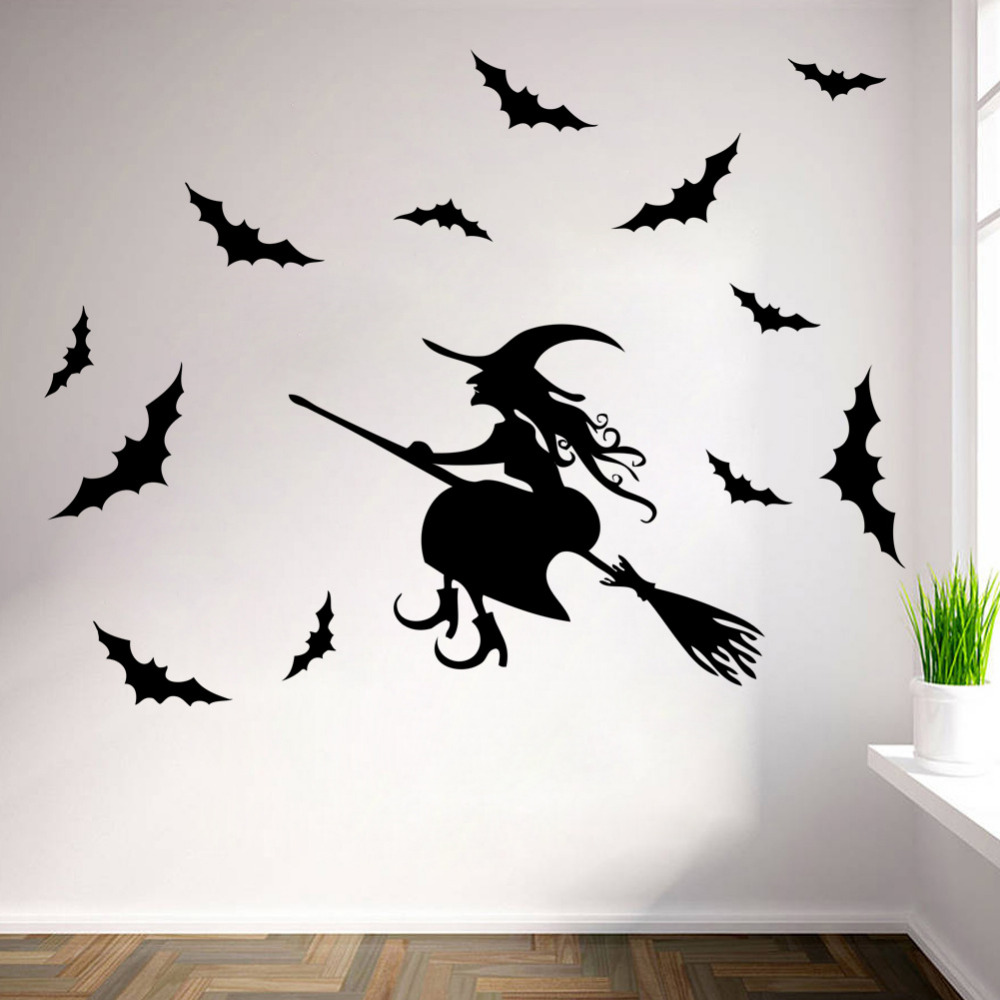 popular outdoor wall stickers buy cheap outdoor wall stickers lots halloween flying witches wall stickers living room wall window outdoor decor witch silhouette vinyl decals removable