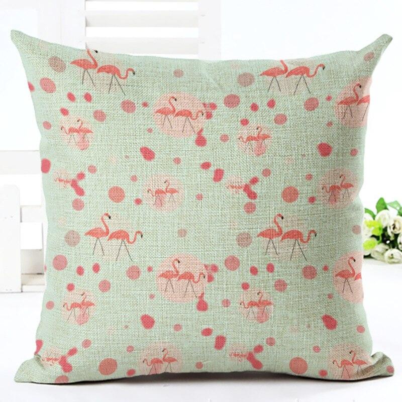 Fashion Pillowcase Flamingo Pillow Case Watercolor Square Cushion Cover Pillowcase Sofa Car Seat Home Decor DIY F