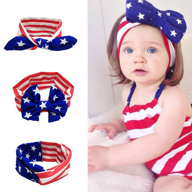 Children American Patriots  Day Big Bow Baby Girls Headband Baby Hair bands  Turban Knot Head Wraps Hair Accessories 8bb17beb24f