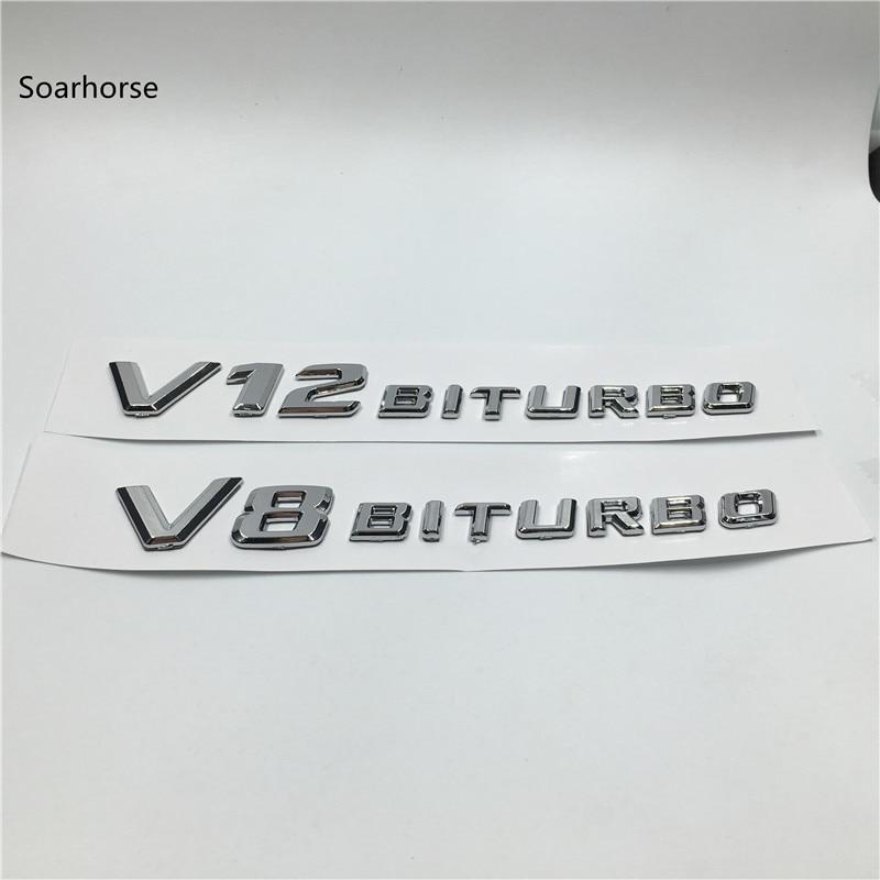 2pcs V8 Kompressor Chrome Fender Badge Emblem Sticker
