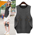2017 new spring fat XL Womens fat mm irregular knitted vest jacket sleeve head size.