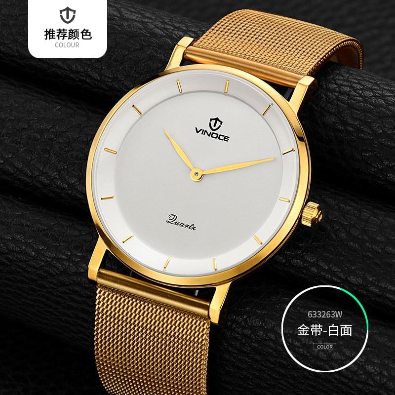 ФОТО The newest brand VINOCE Men Watch 50m Waterproof Male Clock New Big Dial White Lens gold Steel strip Quartz Wristwatch Hot Sale