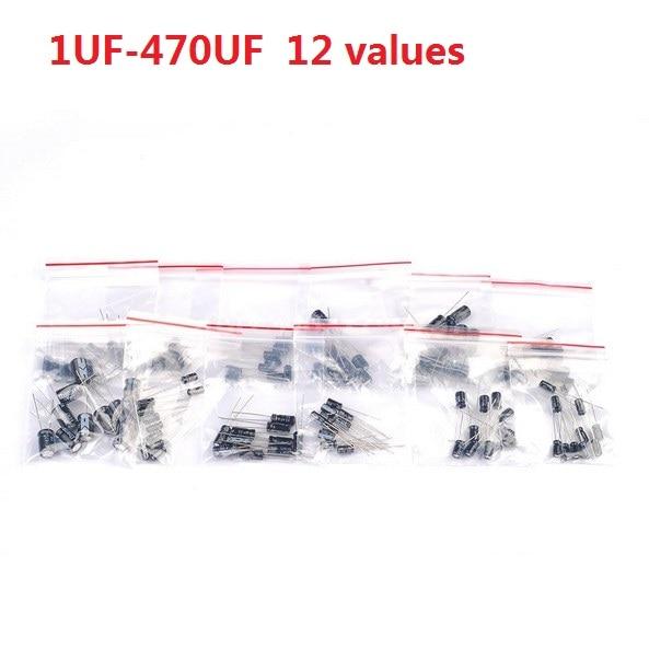 12 значения Комплект 1 МКФ-470 МКФ Алюминиевый электролитический конденсатор 120 шт. в упаковке