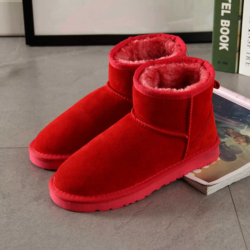 Begocool snow boots for women 100% genuine Cow suede leather australia ankle boots warm winter shoes botas red cheap sale