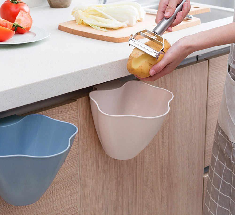 1 pc cozinha pendurado Porta Do Armário de Cozinha De plástico lata de lixo rosa azul cinza Pendurado Lixo Pode Rubbish Container casa armazenamento