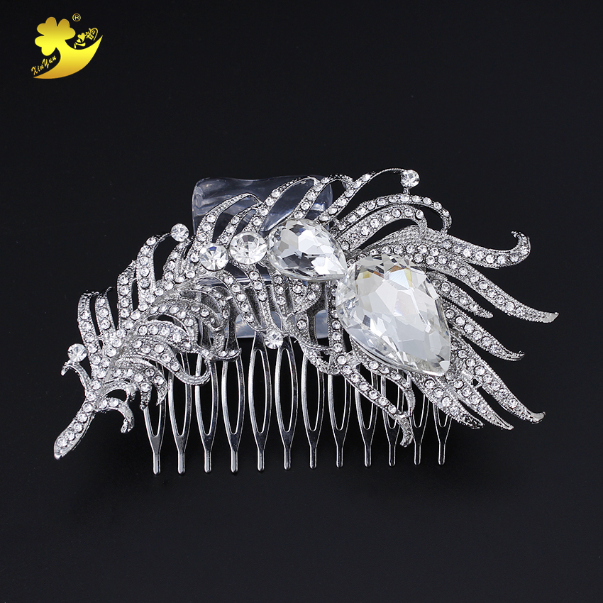 Xinyun Flower Design Bridal Hair Combs Tiara Women Wedding Accessories Peacock Fashion Hair Jewelry Comb For Hair Indian Jewelry